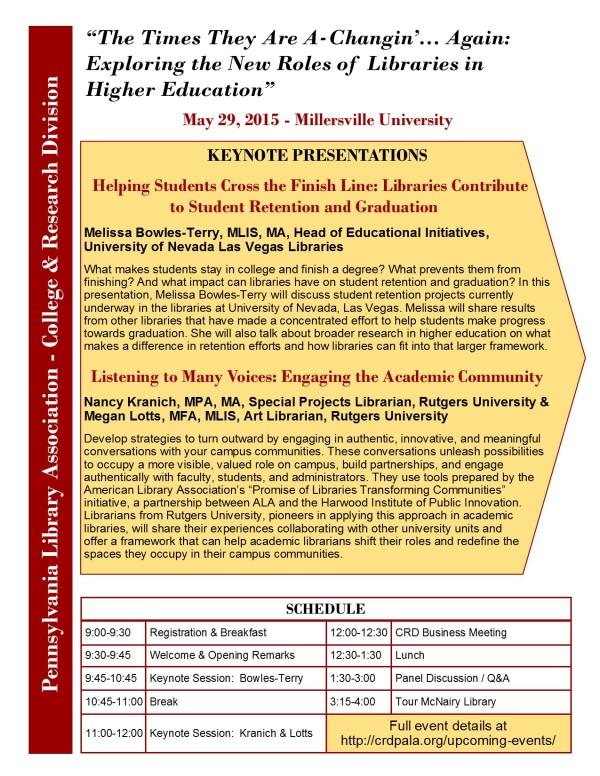 CRD Spring Program 2015 - flyer front
