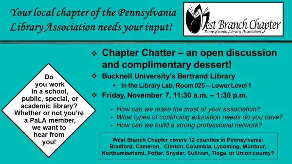 "West Branch Chapter invites you to a ""Chapter Chatter"" event!"