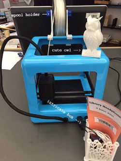 Micro3D printer, with spool holder, owl, and intricate box
