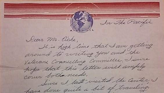 A letter written by a soldier in World War II.