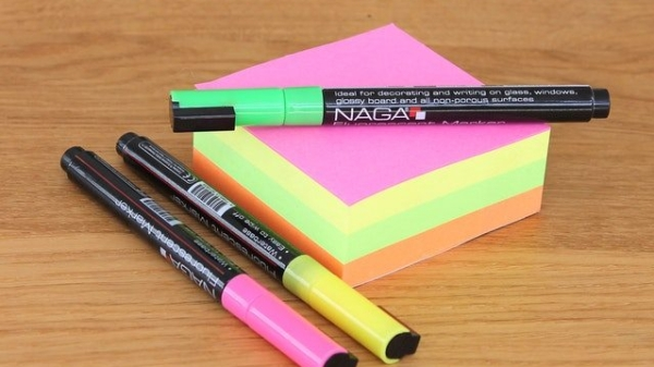 sticky notes and markers