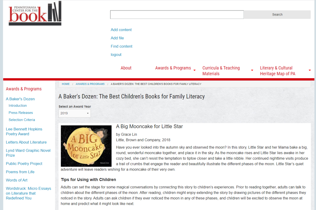 This is an illustrative image of the website for the booklist, A Baker's Dozen: The Best Children's Books for Family Literacy