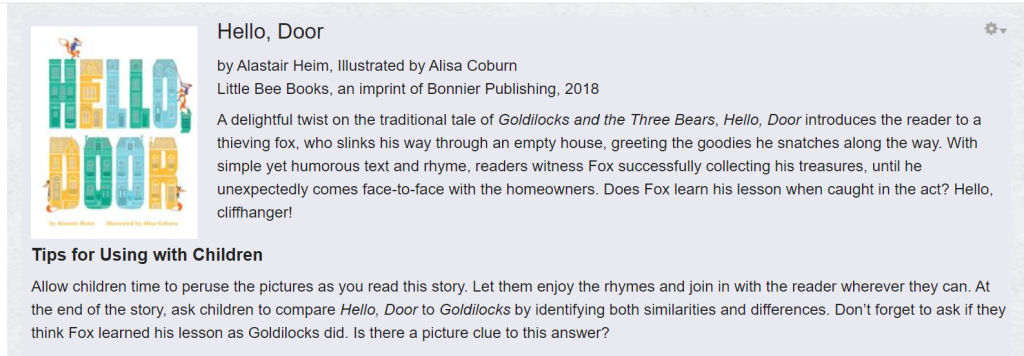 A snapshot of the Baker's Dozen website shows a summary and tips for Hello, Door by Alastair Heim, Illustrated by Alisa Coburn from the 2019 booklist.